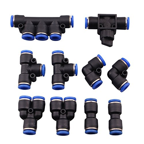 Dernord 8mm or 5/16 od Push To Connect Fittings pneumatic fittings kit 2 Spliters+2 elbows+2 tee+2 Straight+1 Manifold+ Hand Valves Ultimate professional set 10 pack Plastic(8mm combo)