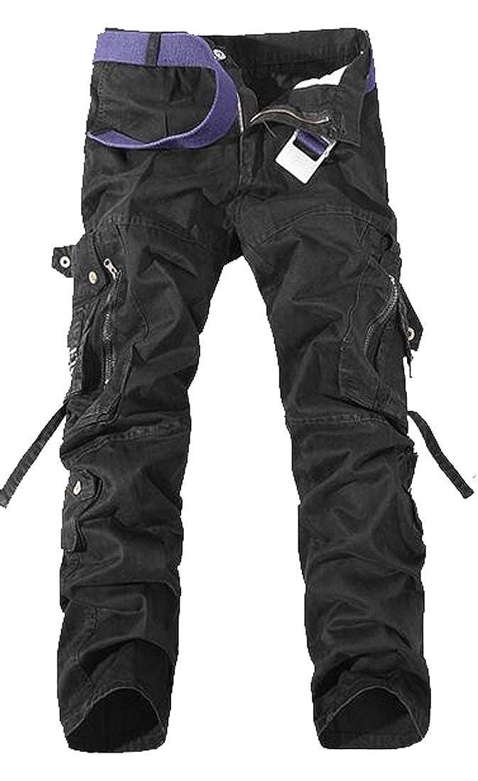 YYG Mens Multi Pockets Regular Fit Casual Plain Utility Cargo Pants