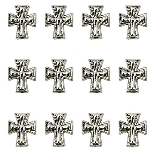 Monrocco 120 Pack Silver Alloy Metal Cross Spacer Beads Religious Loose Beads Charms for Rosary Bracelets Jewelry Making,10x8mm