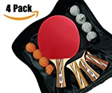 Ping Pong Paddle Set of 4-6 Star Performance Series - Table Tennis Racket Kit with Durable Rubber - Four Blades with Eight Ping Pong Balls