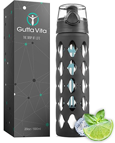 Gutta Vita 20 oz Glass Water Bottle Fruit Infuser with Silicone Sleeve – Best for Yoga Gym Hiking or Sports – BPA Free Borosilicate Glass – Portable Detox Bottle with Leak Proof Flip Top