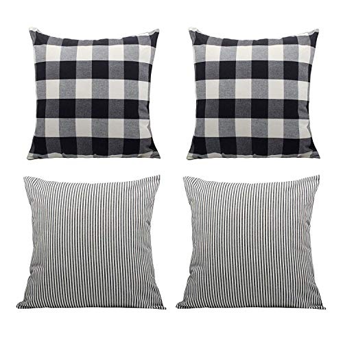(COMHO Pack of 4, Cotton Woven Farmhouse Decorative Throw Pillow Covers, Rustic Cushion Covers, Square Buffalo Checker & Stripe Pillowcase for Sofa Bed (Pack of 4, 18''X18''))