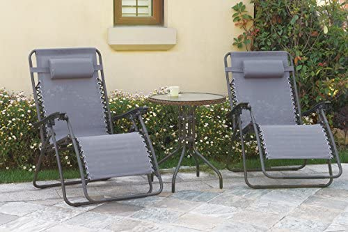 Zero Gravity 2 Pack Reclining Pool Patio Outdoor Lounge Chairs in Dark Grey