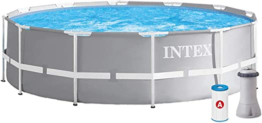 Intex 12FT X 39IN Prism Frame Pool Set sobre la Piscina, Gris ...