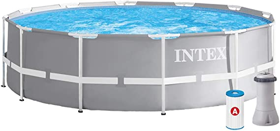 Intex 12FT X 39IN Prism Frame Pool Set sobre la Piscina, Gris, 366x99: Amazon.es: Jardín