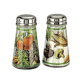 Grant Howard Hand Painted Tapered Salt and Pepper Shaker Set 7 Beautiful hand painted veggie design Translucent bottle makes it easy to see amount remaining Can be used for other fine ground seasonings