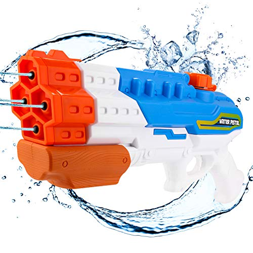 Biulotter Water Guns for Kids Adults, 4 Nozzles 1200cc Super Soaker Water Blaster Pistol Squirt Gun for Water Fight Swimming Beach Water Toy 30-35 Feet Shooting Range for Kid&Adult