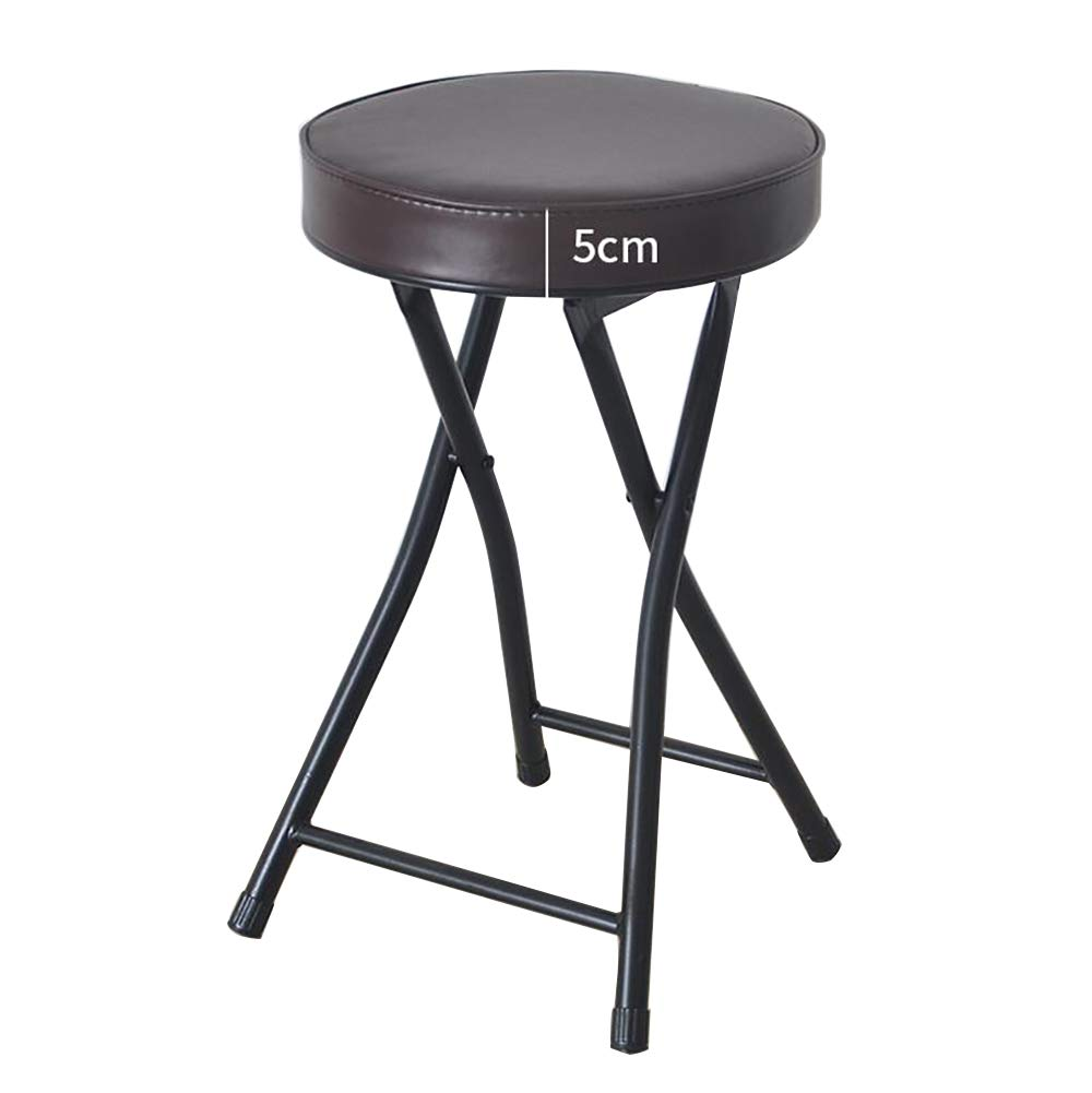 Simple Folding Small Chair Back Office Stool, Restaurant Round Seat Fishing Kitchen Outdoor Garden -Brown