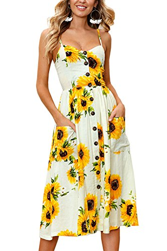 (Allfennler Women's Dress Summer Bohemian Spaghetti Strap Button Down Swing Floral Midi Maxi Dresses with Pockets)