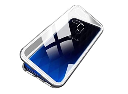 sports shoes 5aaa0 d91cf Vodex Magnetic Case for Oppo F9 Pro,Clear Tempered Glass Hard Back Cover  [with Built-in Magnets Metal Bumper Frame],360° Full Protection Ultra Slim  ...
