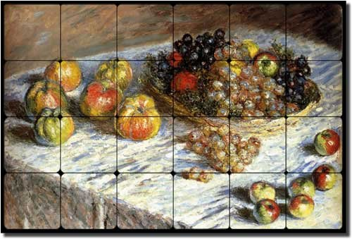 Still Life of Apples and Grapes by Claude Oscar Monet - Artwork On Tile Tumbled Marble Mural 16'' x 24'' Kitchen Backsplash