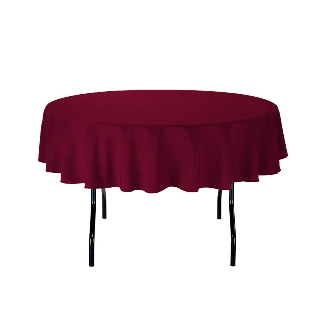 """Gee Di Moda Tablecloth - 70"""" Inch Round Tablecloths for Circular Table Cover in Burgundy Washable Polyester - Great for Buffet Table, Parties, Holiday Dinner & More"""