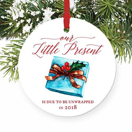 2018 Pregnancy Announcement Ornament Expecting Parents Porcelain Ceramic Ornament, 3