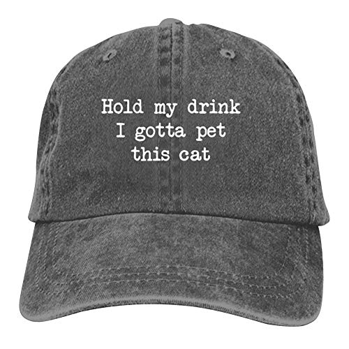 Hold My Drink I Gotta Pet This Cat Cowboy hat Adjustable Baseball Caps Hats for Unisex Charcoal