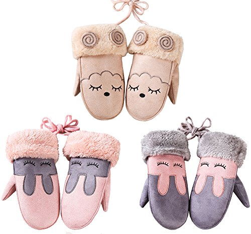 3-Pack Kids Girls Cartoon Suede Fleece Lined Mittens Gloves with String for Toddler Boys 3-8 Years (Set C)