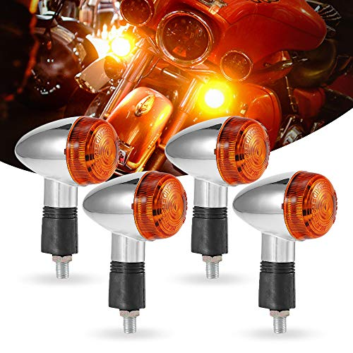 MOTL Motorcycle Turn Signals 4pcs Chrome Bullet Front Rear Lights