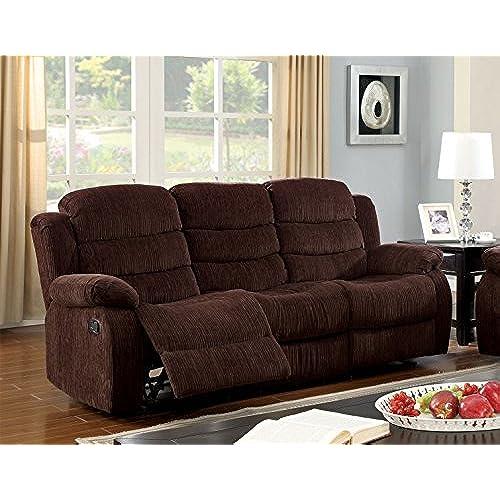 Beau Furniture Of America Blake Chenille 2 Recliner Sofa, Chocolate