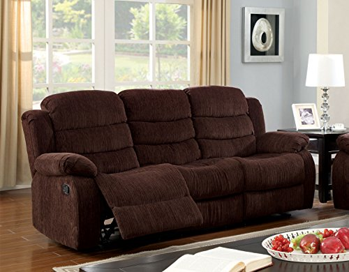 Furniture of America Blake Chenille 2-Recliner Sofa, Chocolate