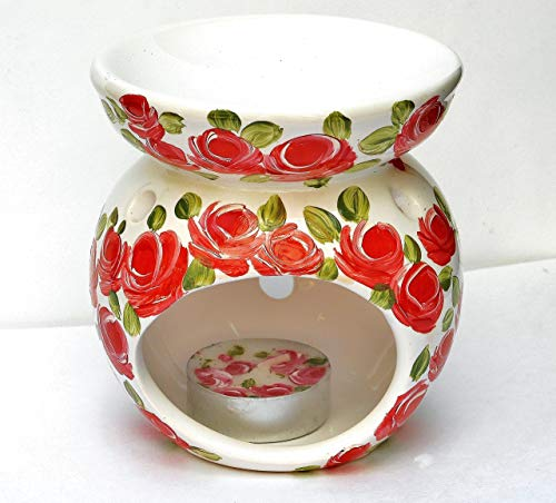 Painted Roses Hand Candle (White Ceramic Essential Oil Warmer and Tea Light Candle Holder Gift Set with Hand Painted Red Roses)