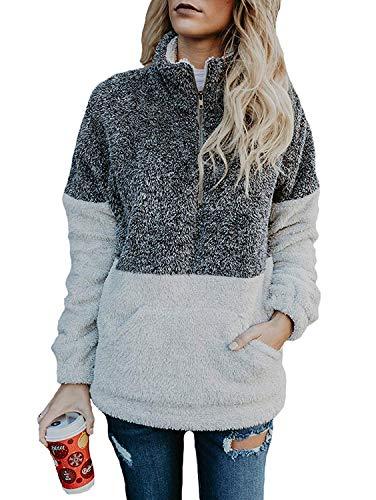 (Women's Coat Casual Lapel Fleece Fuzzy Faux Shearling Zipper Coats Warm Winter Oversized Outwear Jackets (X-Large, Grey Pullover))