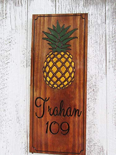 House Number Plaque with a Pineapple, Custom Address Sign, Personalized Home Sign, H103