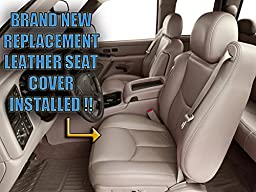 2003-2007 GMC Sierra 1500HD 1500 HD SLT SLE Z71 Driver Side Bottom Replacement Leather Seat Cover, Tan