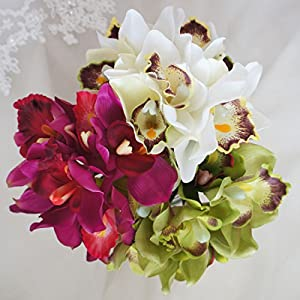 Lily Garden Mini 7 Stems Cymbidium Orchid Bundle Artificial Flowers (Green) 5
