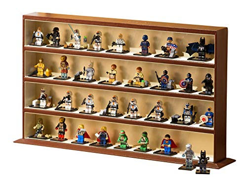 JackCubeDesign Minifigures Display Storage Stand Case Leather Toy Figures Organizer Cabinet(4 Shelves, Brown)  :MK437B