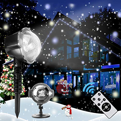 Christmas Decoration Projector, Rotating Snowfall Spotlight, Falling Night Lights White Snowflake,Waterproof LED Landscape Light Outdoor Garden Wall, Birthday Party Stage Decoration Lighting (Est Outdoor Lighting)