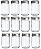 North Mountain Supply 12 Ounce Regular Mouth Mason Canning Jars - With Silver Safety Button Lids - Case of 12