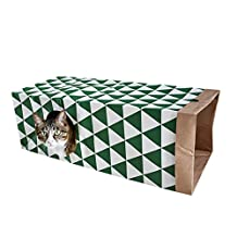 Purelemon Cat Play Toys Interactive Tunnel Toy Collapsible Kraft Paper Bag With Crinkle Peep Hole for Cats Dogs and Other Small House Animals