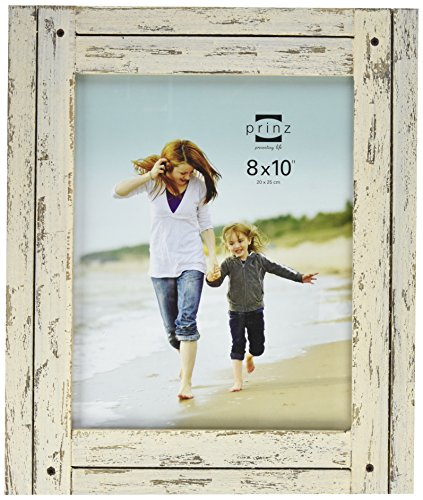 PRINZ Homestead Distressed Wood Frame, 8 by 10-Inch, - White Picture Distressed Frame