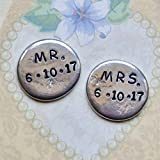 Mr and Mrs Hand Stamped Personalized Pewter Pocket Token