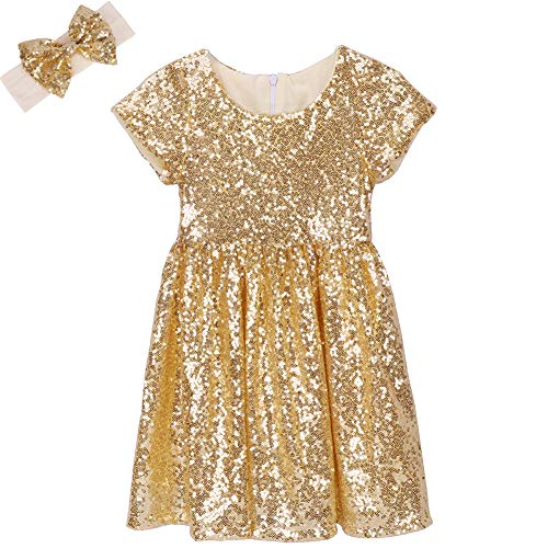 Cilucu Flower Girl Dress Baby Toddlers Sequin Dress Kids Party Dress Bridesmaid Wedding Gown Birthday Dress Gold 4T-5T