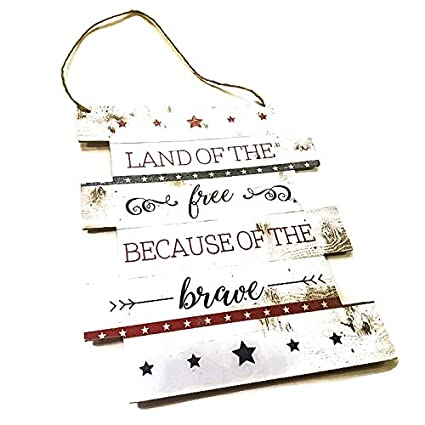 Amazoncom Stars And Stripes Wall Sign With Quote Rustic Usa