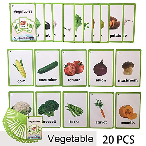 Richardy 20PCS/Set Vegetable Kids Gifts English Flash Cards Pocket Card Educational Learning Baby Toys For Children Pre-Kindergarten (Fruit And Vegetable Cards)