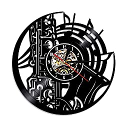 WFUBY Black Glue Wall Clock Music Instrument Vinyl Record Wall Clock Home Decor Saxophone Silhouette Handmade Gift for Music Lover LP Time Cloc 7 Colors