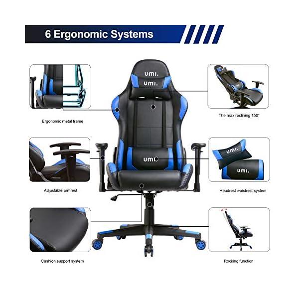 Amazon Brand – Umi Chaise Gaming de Bureau Fauteuil Gamers Siège Ergonomique en Cuir Synthétique avec Accoudoirs…