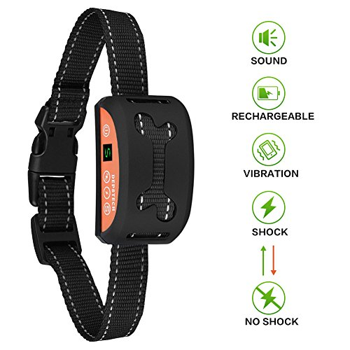 Depstech Automatic No Bark Dog Collar, Rechargeable and Rainproof Anti-bark Collar with Beep, Adjustable 7-Level Vibration & Safe Static Shock Modes for Small Medium Large Dogs(15-150 Lbs )