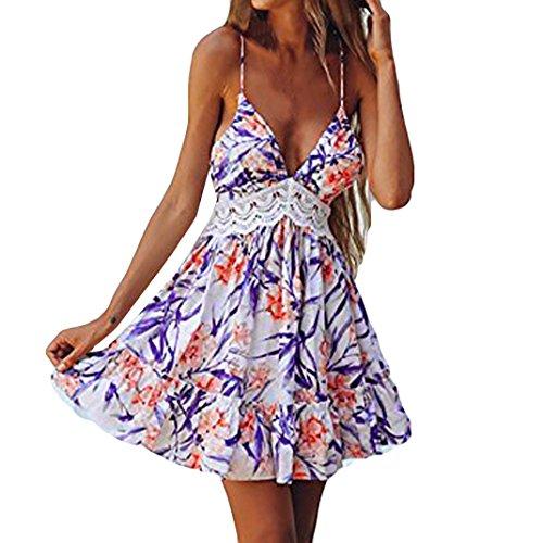 Vestido mujer verano 2018 vestido de playa Mini vestido sin mangas de encaje empalmado de flores para mujer Vestido corta de moda casual Amlaiworld Púrpura