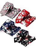 Hestya 8 Pieces Men's Neckties and Pocket Squares Set, Skinny Cotton Floral Printed, Great for Weddings, Groom, Groomsmen, Missions, Dances Gifts