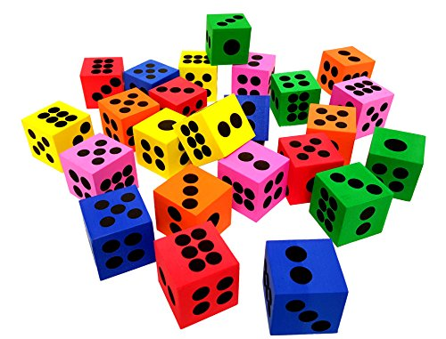 'Playscene' Big Foam Playing Dice (Party Packs!) (2 DOZEN) - Foam Playing Dice