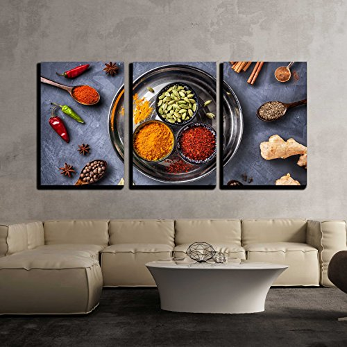 - wall26 - 3 Piece Canvas Wall Art - Various Spices Like Turmeric, Cardamom, Chili, Bayberry, Bay Leaf, Paprika, Ginger - Modern Home Decor Stretched and Framed Ready to Hang - 24