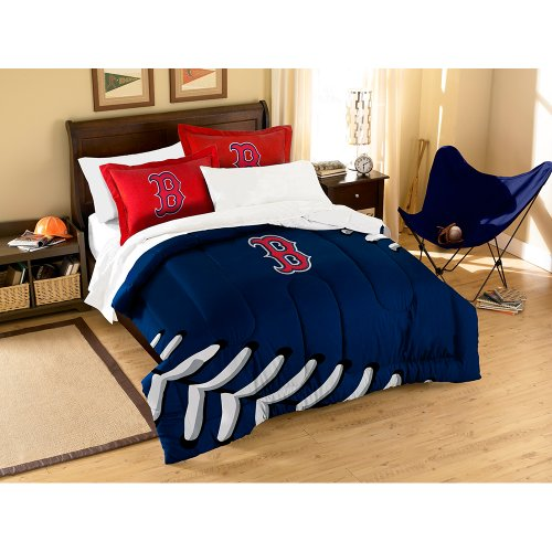 MLB Boston Red Sox Applique Comforter with Pillow Shams, Twin/Full, Multi-Colored (Sox Twin Sheet Set)