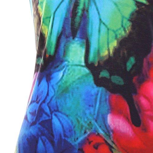 Adeshop Papillons Chic Fleurs Casual Femmes Plage Manches Femme Imprimé D'été Élégant Cocktail Slim Mode Jupe Et Robe Col Robe Longue Soirée Multicolore Rond Robes De Sans Irrégulier Lâche rwXqr8Y