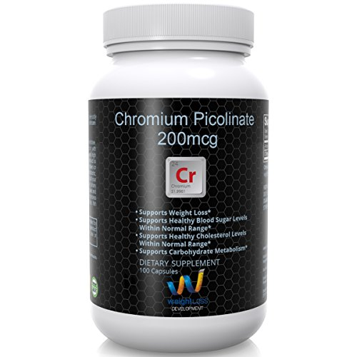 CHROMIUM PICOLINATE 200 mg Tablets - Curb Sugar Cravings, Boost Carb Metabolism, Balance Blood Sugar - Non GMO Pills From Ultra Pure Source - Aids Weight Loss and Burning Fat - 100 Capsules (Naturals 120 Tabs Mcg Source)