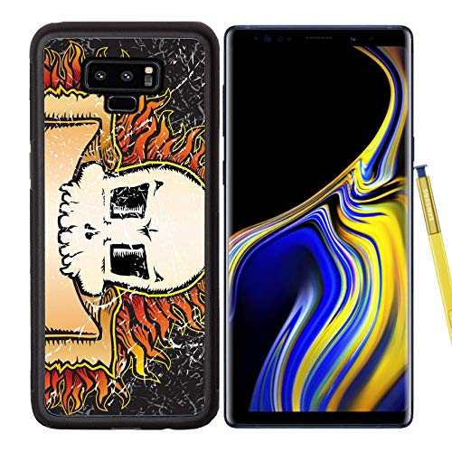 Samsung Galaxy Note9 Case Aluminum Backplate Bumper Snap Case Image ID: 3590036 Flaming Skull Grunge