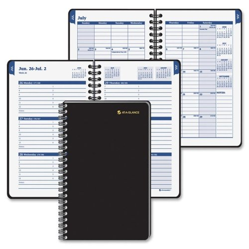 AT-A-GLANCE Recycled Collegiate Weekly/Monthly Appointment Book, 8-Inch x 9 7/8-Inch, Black, 2012/2013 -
