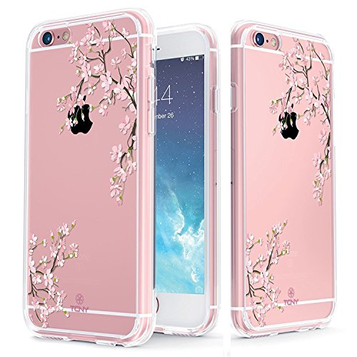 True Color Case Compatible with iPhone 6s Case - Clear-Shield Cherry Blossom [V3] Printed on Clear Back - Perfect Soft and Hard Thin Shock Absorbing Dustproof Full Protection Bumper Cover