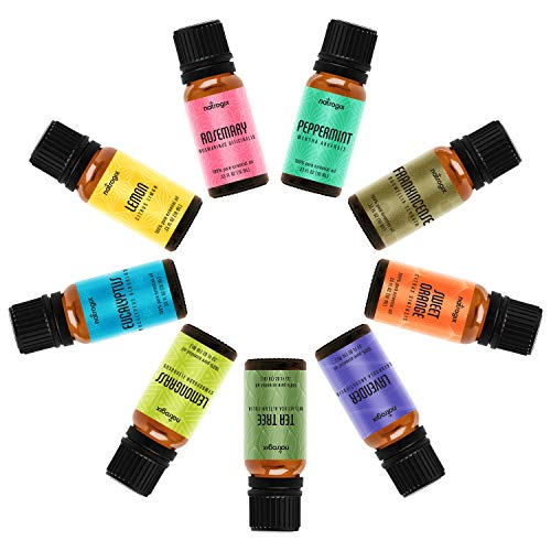 Natrogix Bliss Aromatherapy Top 9 Essential Oils Set, 100% Pure Therapeutic Grade, Tea Tree/Lavender/Eucalyptus/Frankincense/Lemongrass/Lemon/Rosemary/Orange/Peppermint